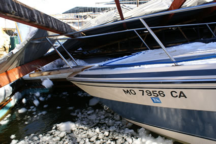 collapse of structure upon water craft